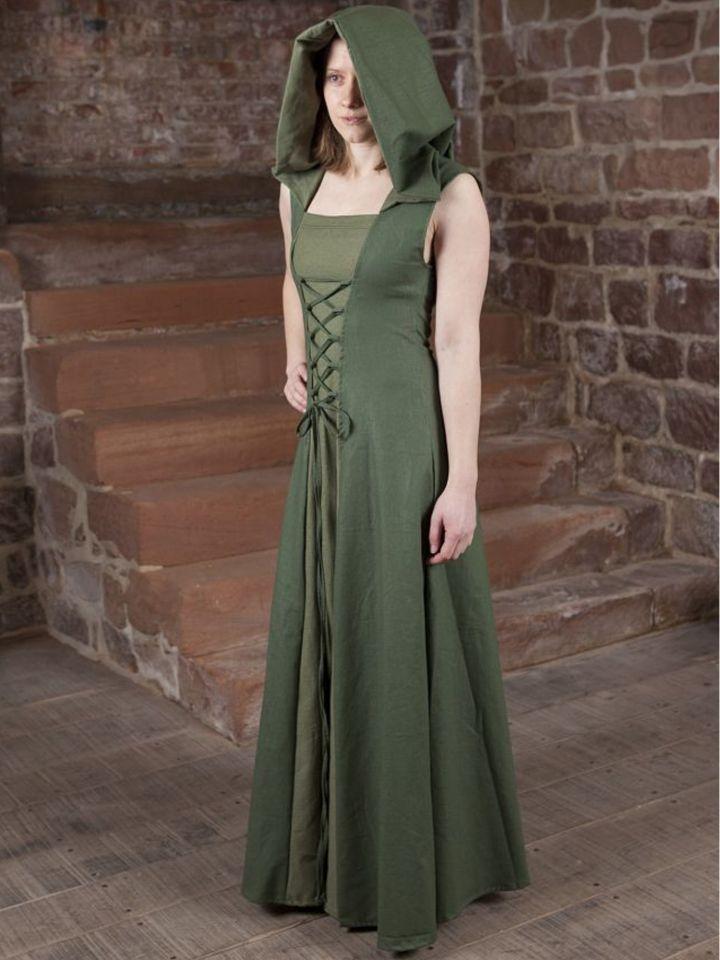 Robe médiévale Loris en vert