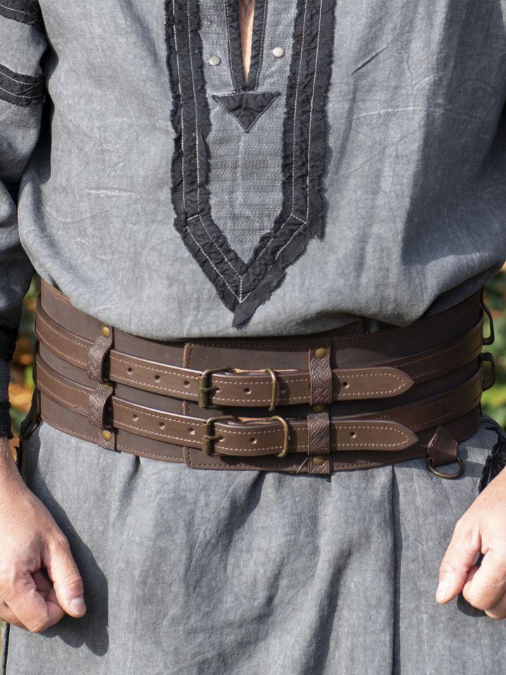 Ceinture viking double marron foncé