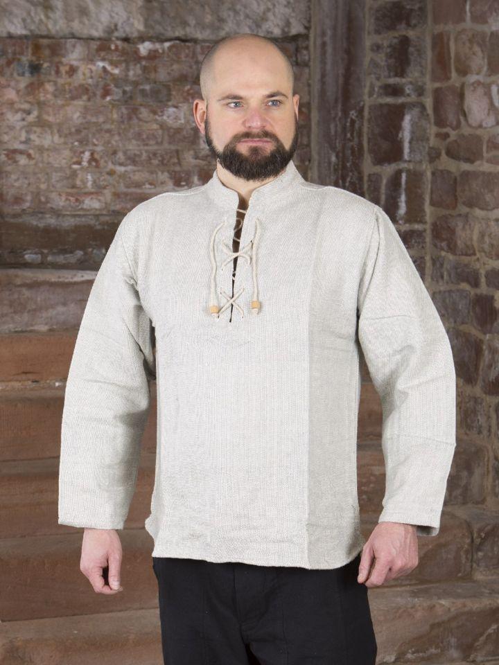 Chemise médiévale épaisse, en gris chiné