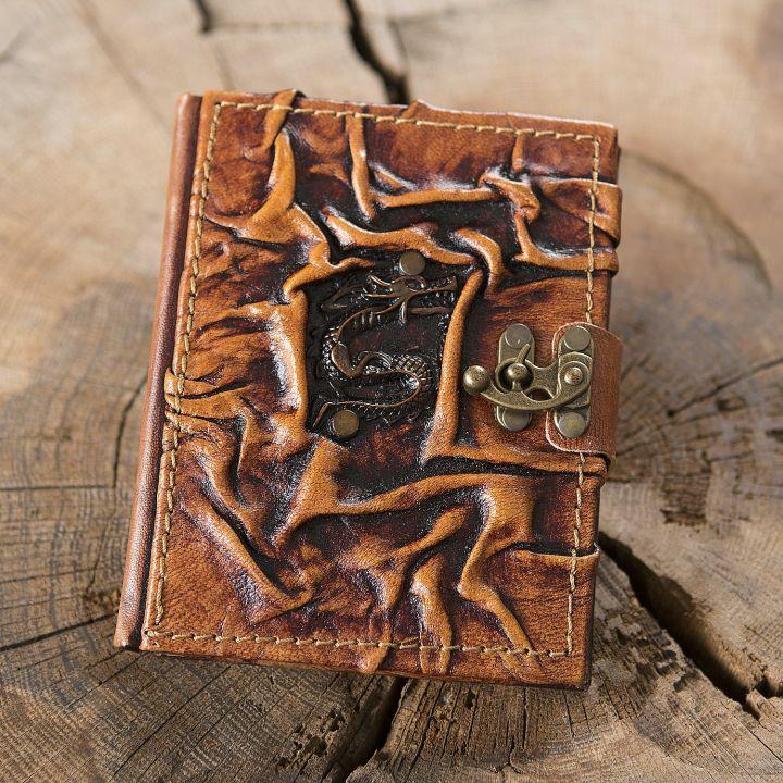 Petit Carnet en cuir, motif dragon