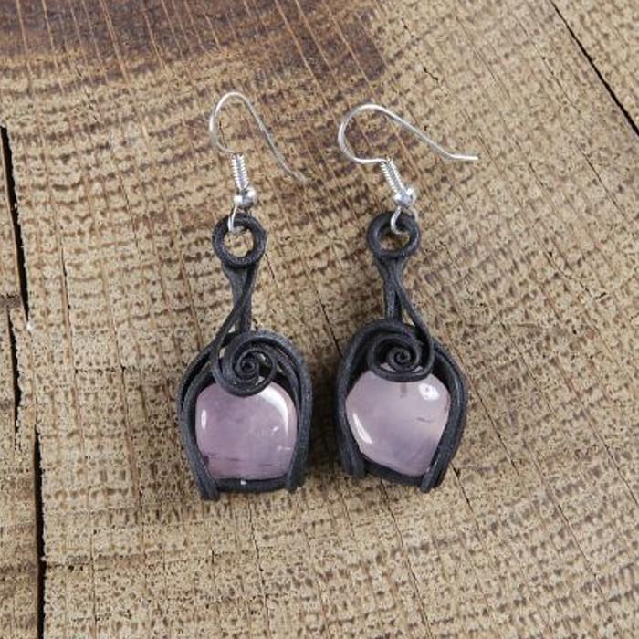Boucles d'oreilles avec quartz rose