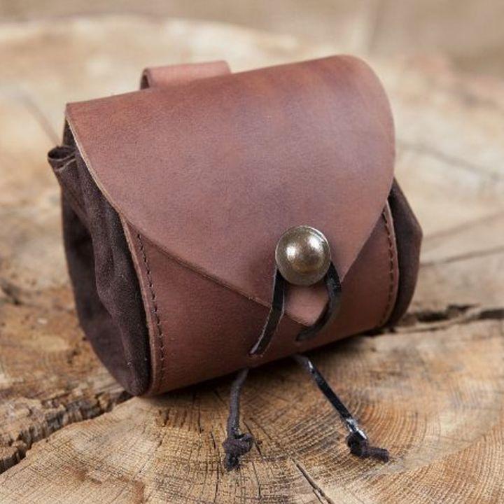 Petit sac de ceinture en cuir, en marron foncé