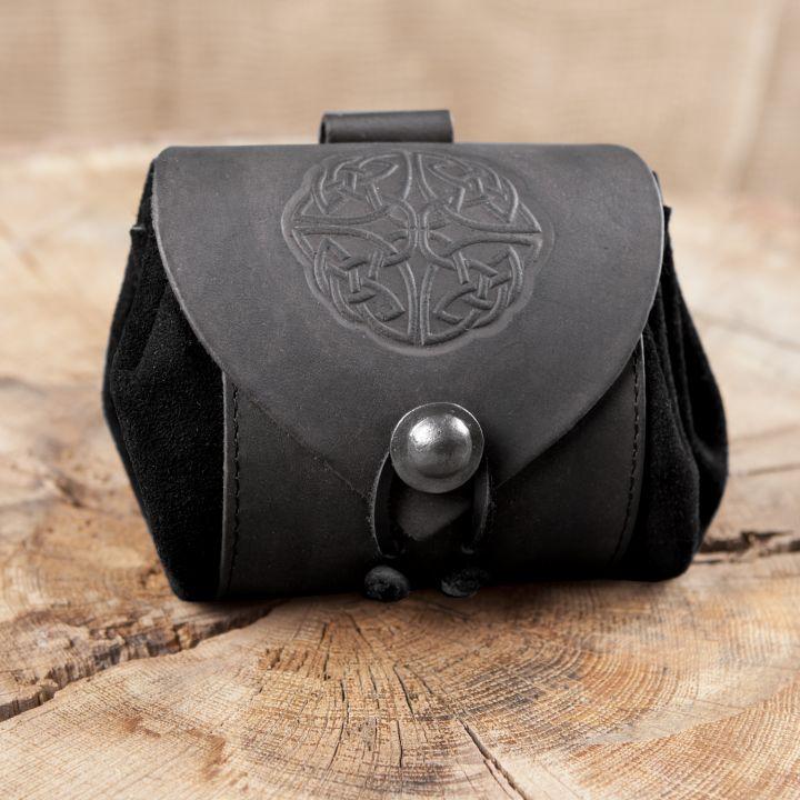 Petit sac de ceinture en cuir, motif noeud celtique, noir