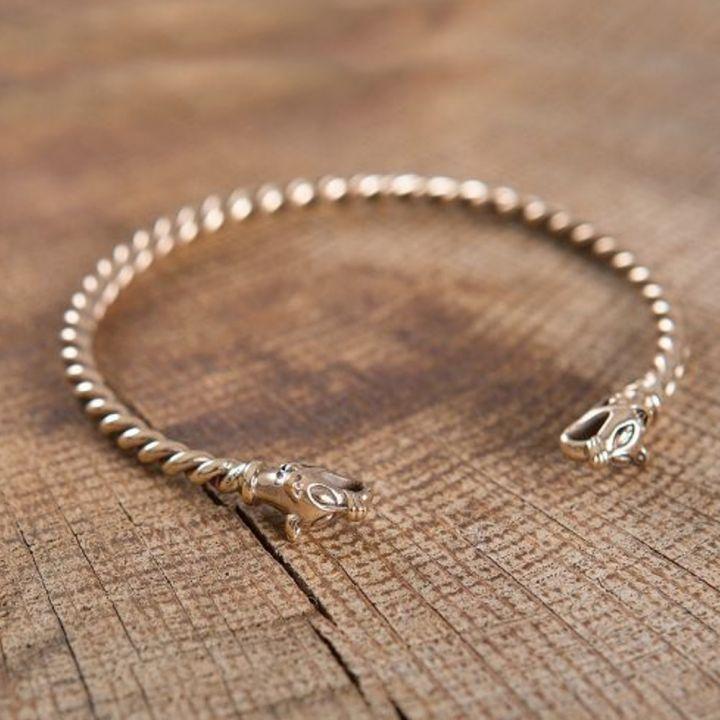 Bracelet Viking à Tête de loup 4mm