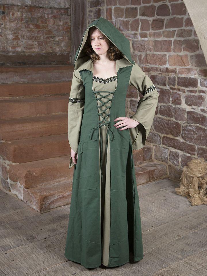 Robe médiévale Irmel en vert olive