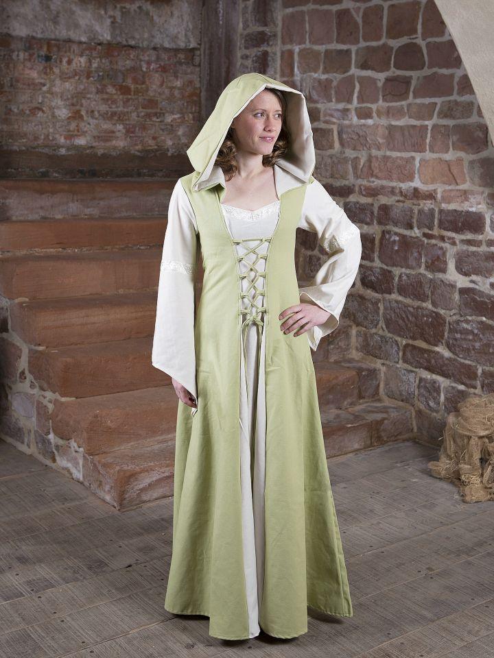 Robe Médiévale Irmel en citron-vert et blanc