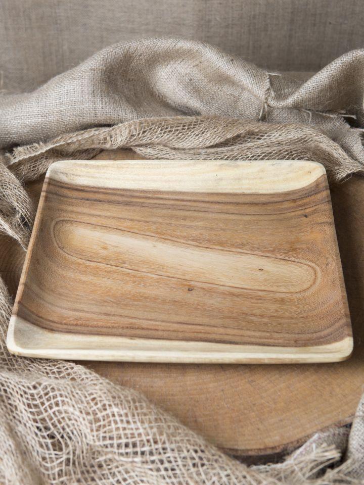 Assiette carrée en bois d'acacia
