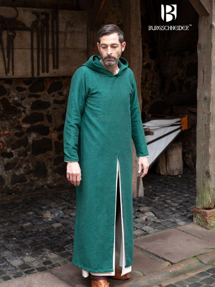 Longue tunique à capuche Renaud en vert