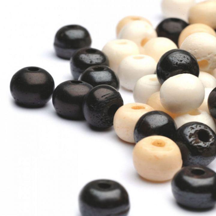 Perle ronde en os - 10 mm marron