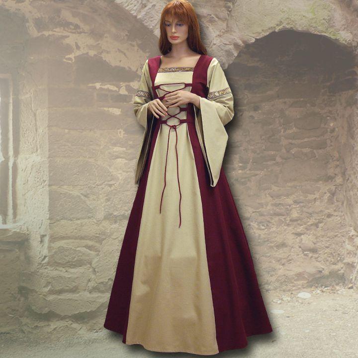 Robe médiévale Sylvia en bordeaux et sable