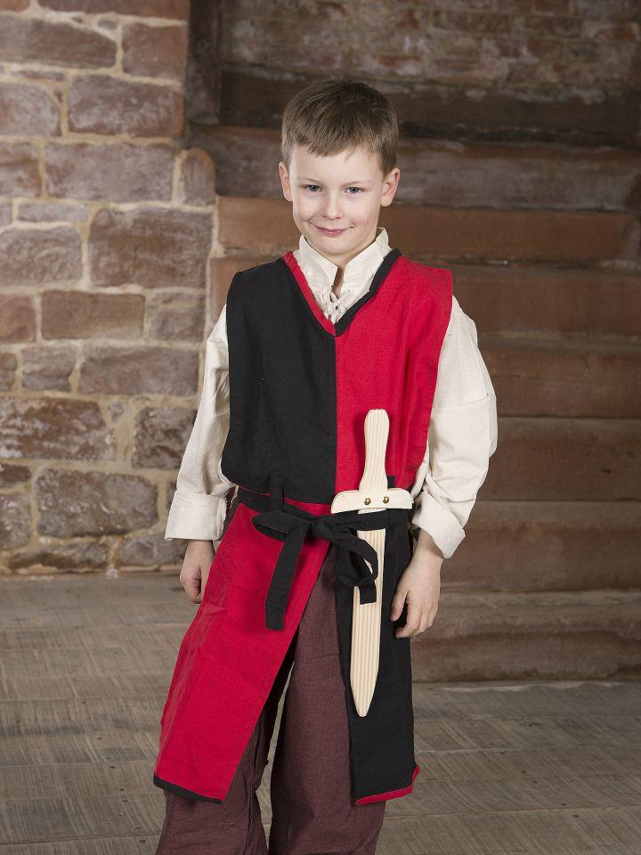 Tabard Norman pour enfant, rouge et noir