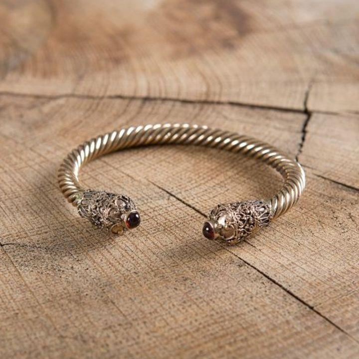 Bracelet celtique torsadé - grenat
