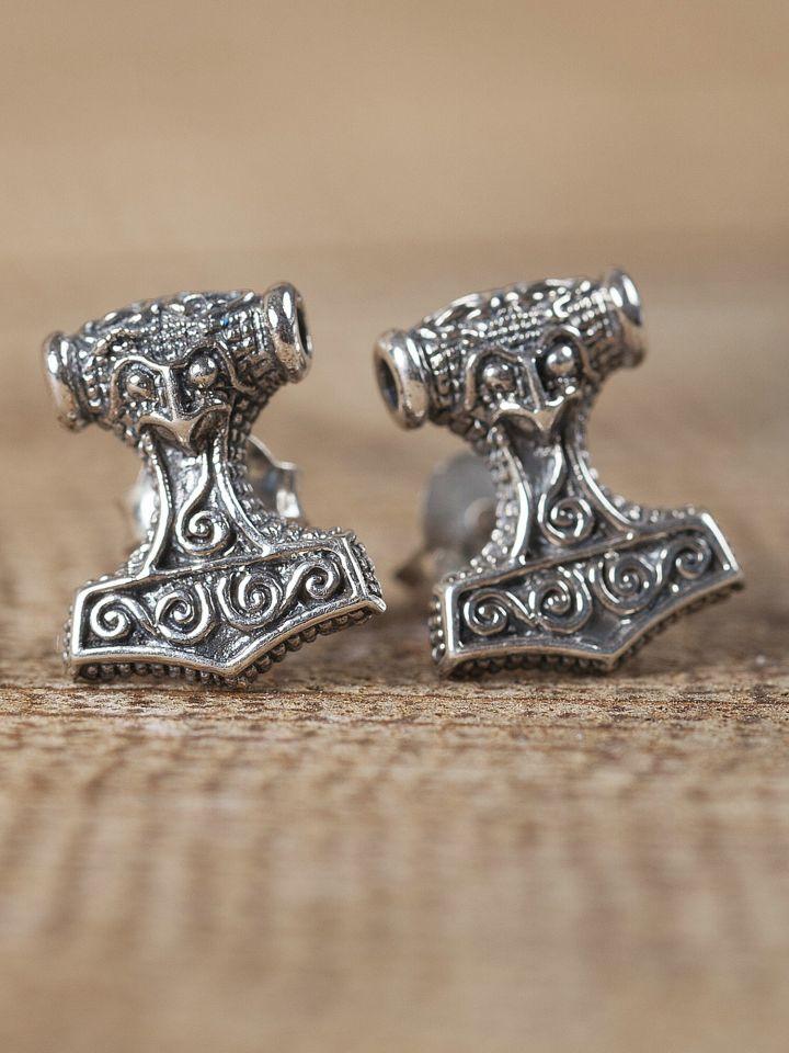 Paire de boucles d'oreilles en argent  marteau Thor