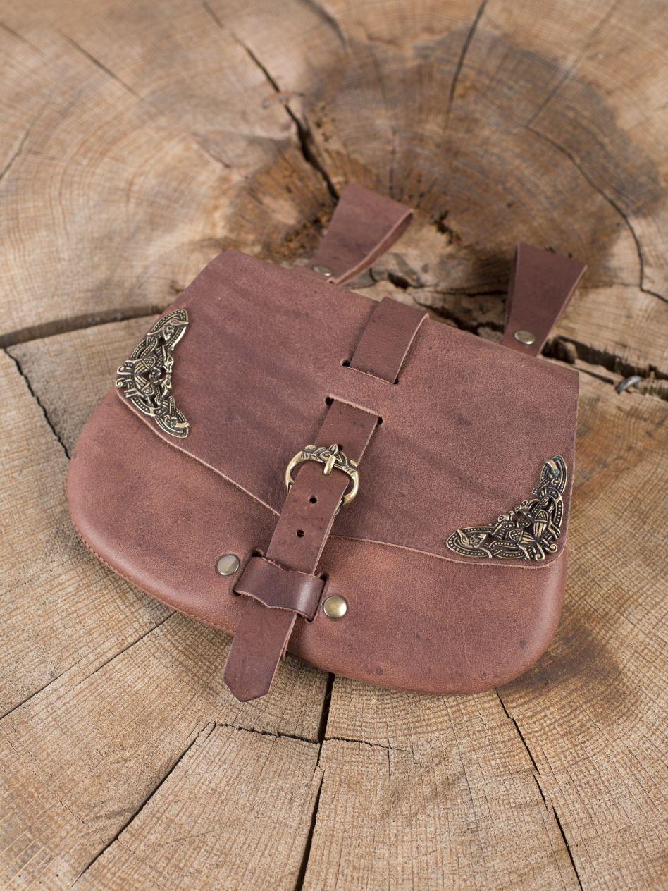 1f2d809f2685 Besace de ceinture médiévale avec ornements, en marron   La boutique  médiévale