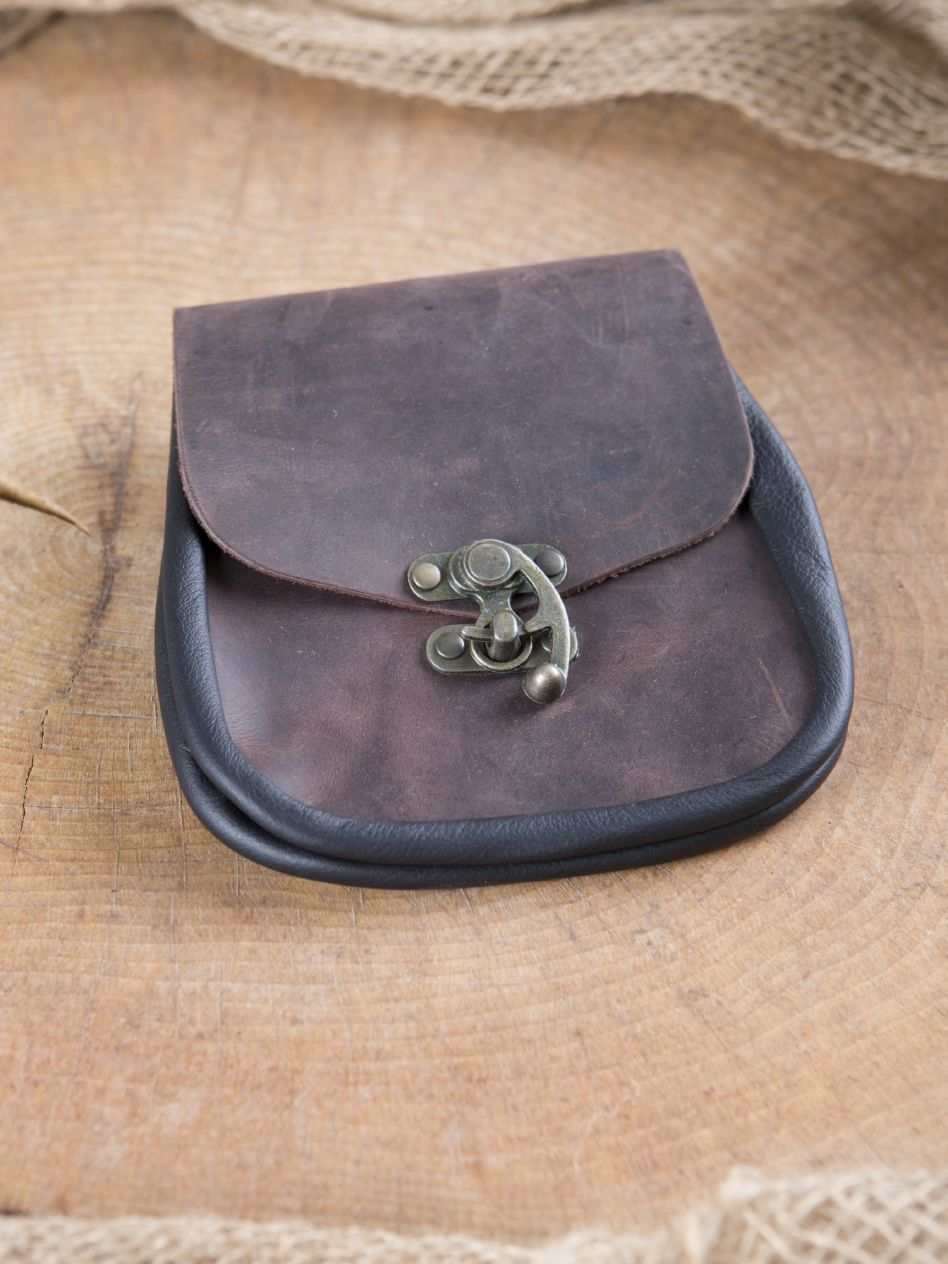 Pochette de ceinture fermoir à crochet, en marron   La boutique médiévale fcce5c644f2