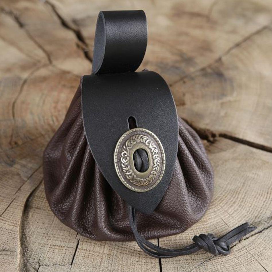 9120b3719648 Bourse de ceinture en cuir marron   La boutique médiévale