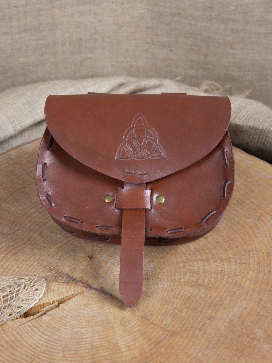Sacoche de ceinture en cuir triskele en marron   La boutique médiévale af18dbea737