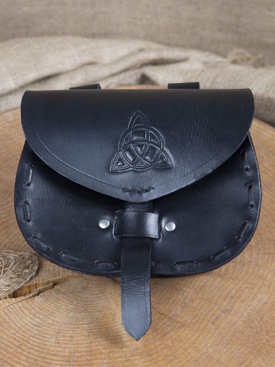 6605bbf62862 Sacoche de ceinture en cuir triskele en noir   La boutique médiévale
