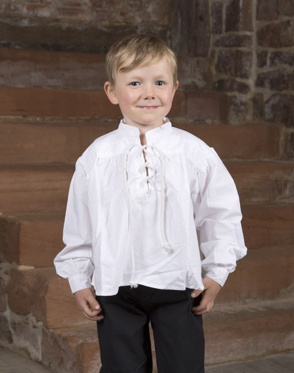 57cfa195c62f1 Chemise blanche avec col lacé pour enfant   La boutique médiévale