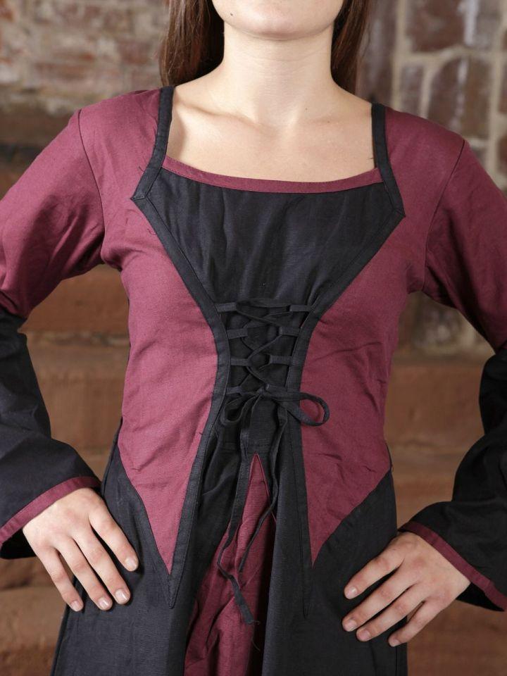 Robe médiévale bicolore (noire-bordeaux) L/XL 2