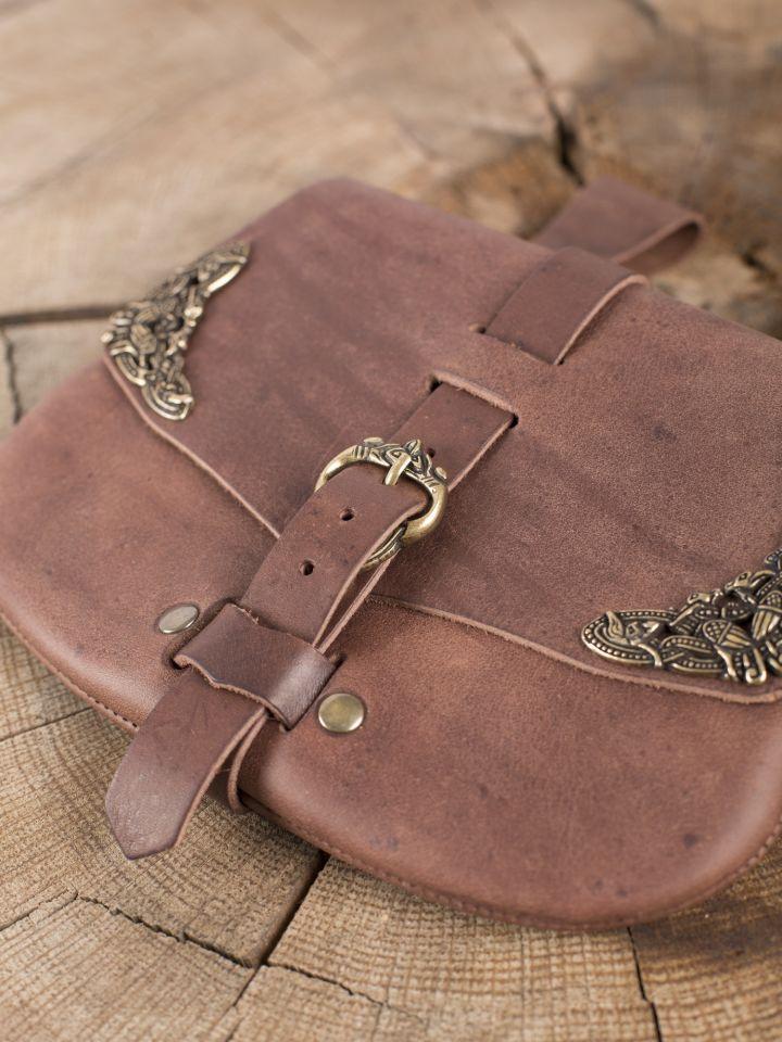 Besace  de ceinture médiévale avec ornements, en marron 2