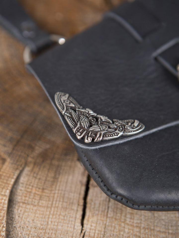 Besace de ceinture médiévale avec ornements, en noire 2