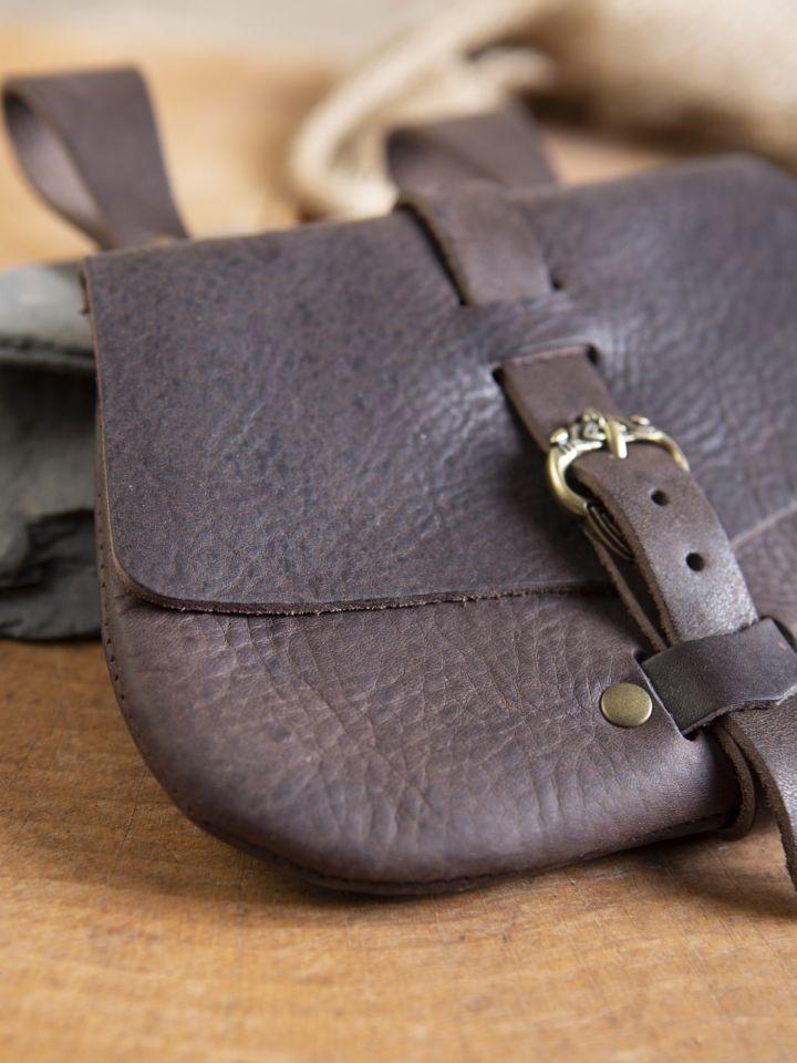 Sacoche de ceinture médiévale, en marron 2
