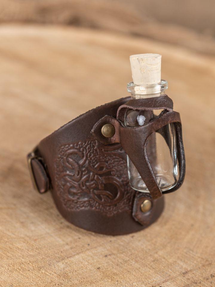 Bracelet porte fiole gaufré, en marron 2