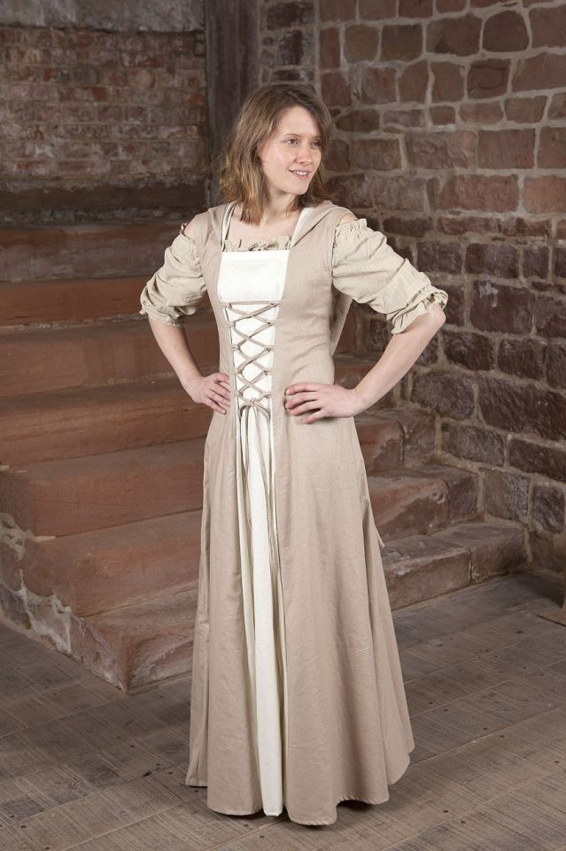 Robe médiévale Loris en blanc et crème 36 2