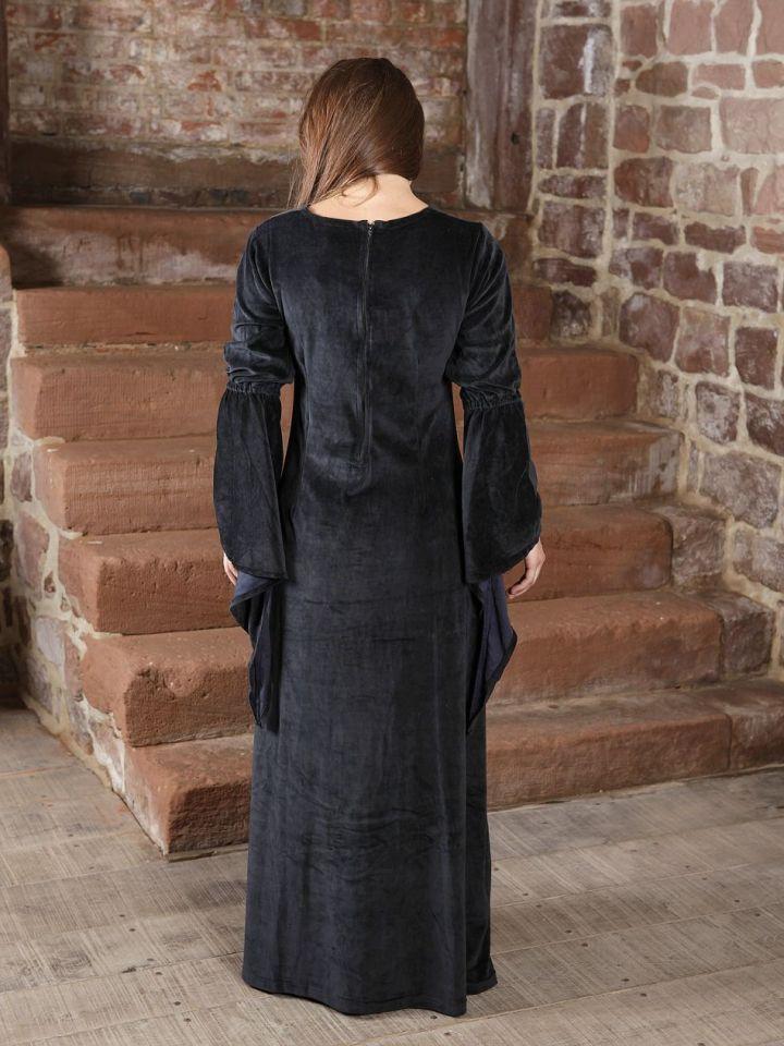 Robe de soirée en velours noir et rouge XS 2