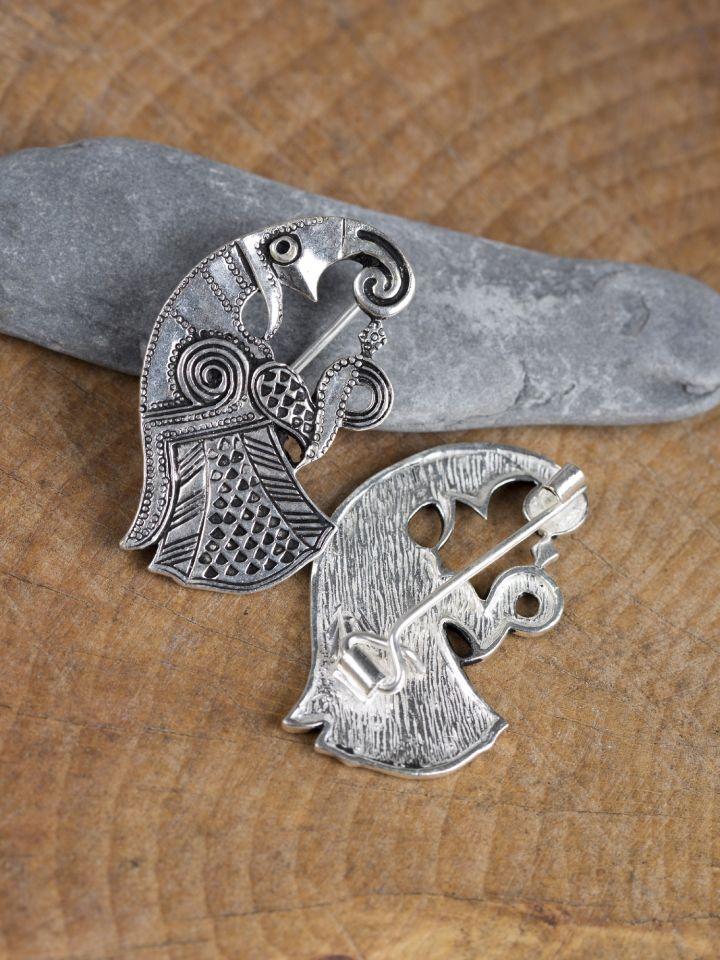 Fibule Raven en bronze plaqué argent 2