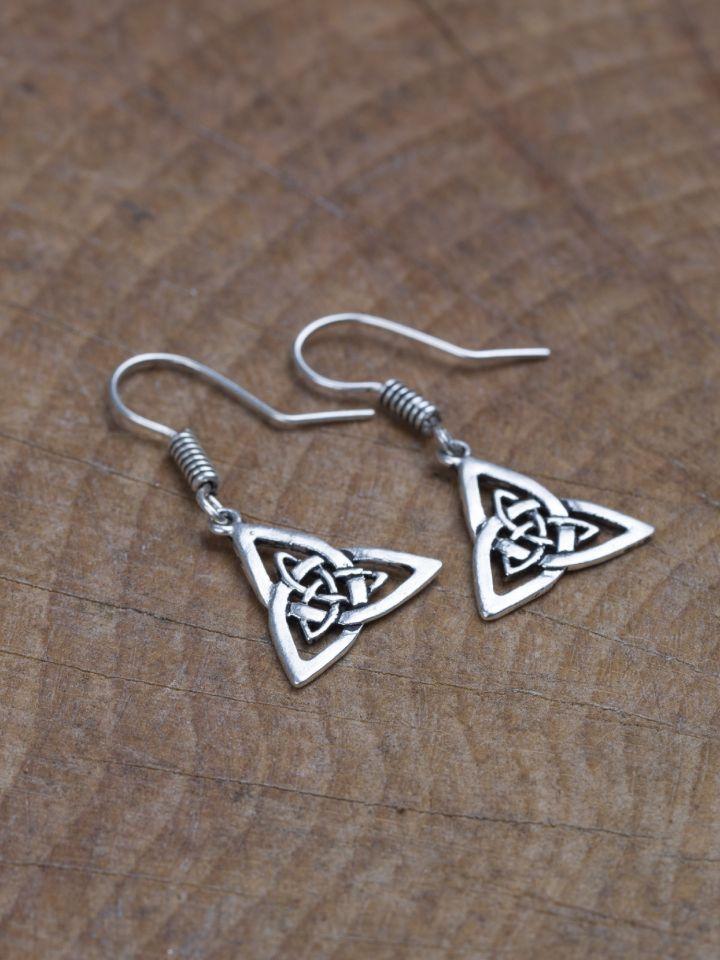 Boucles d'oreilles noeud celtique en bronze plaqué argent 2