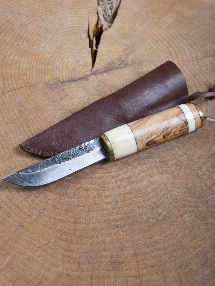 Couteau médiéval avec manche en bois et os 2