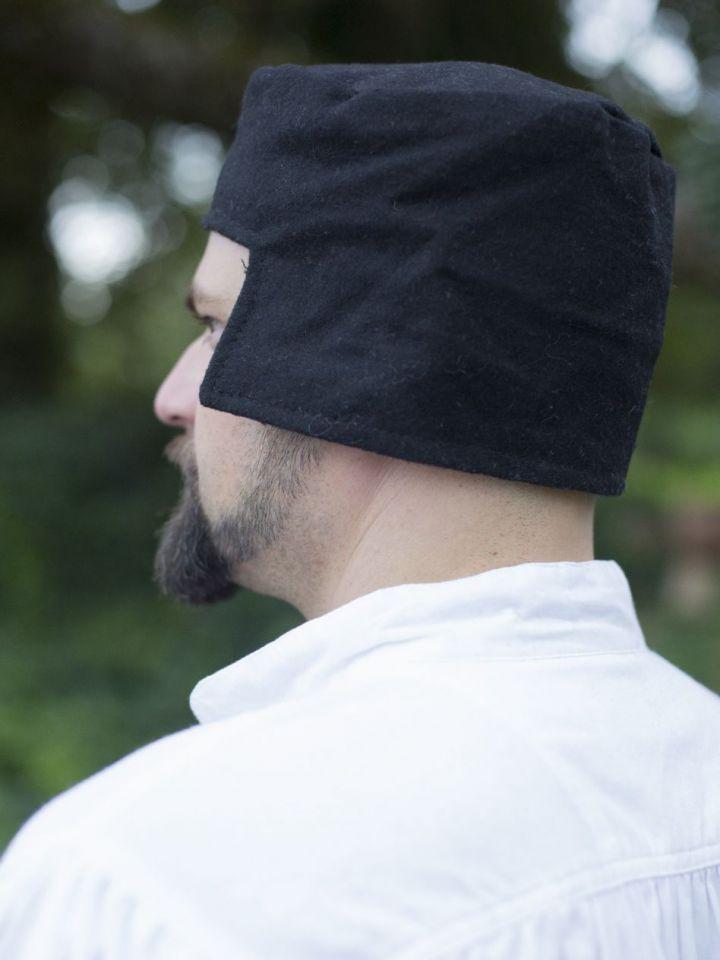 Bonnet médiéval en laine noire 56 2