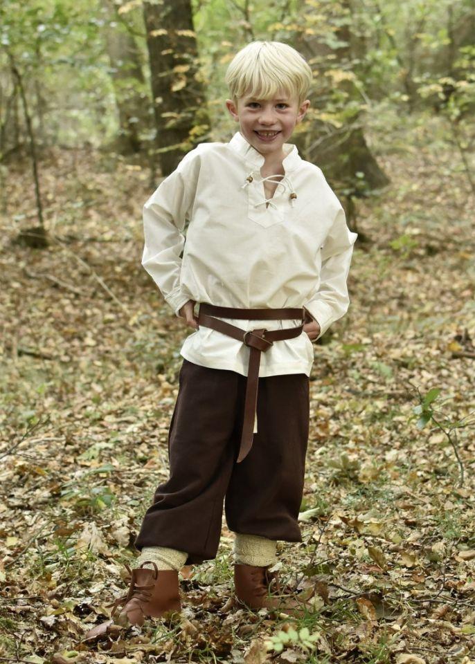Chemise médiévale pour enfant, en écru 2