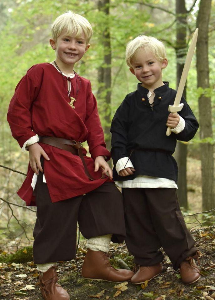 Chemise médiévale pour enfant, en noir 2