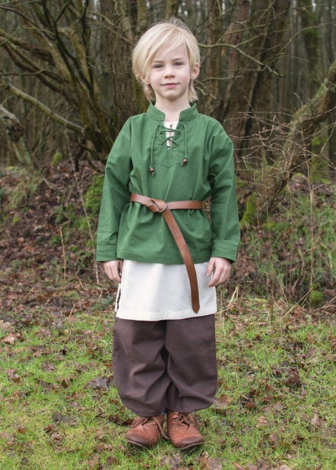 Chemise médiévale pour enfant, en vert 2