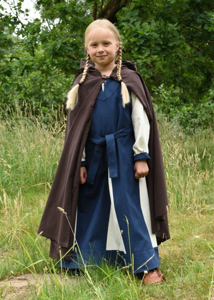 Cape médiévale pour enfant en coton marron 2