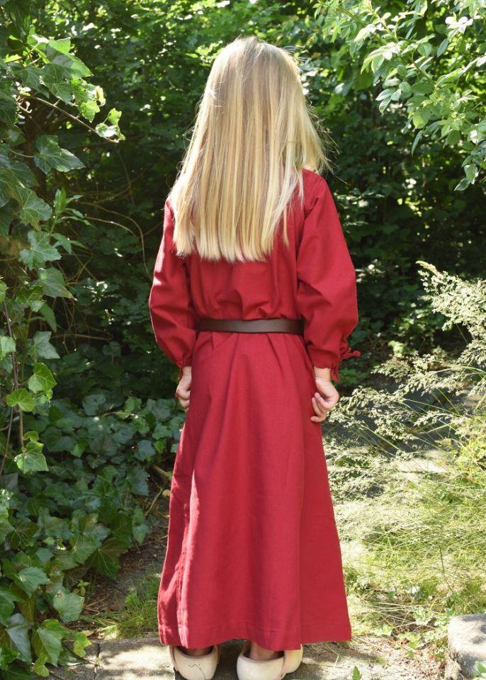 Robe médiévale Mara pour enfant en rouge 2