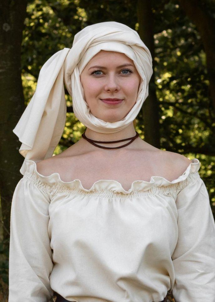 Grand foulard médiéval, écru 2