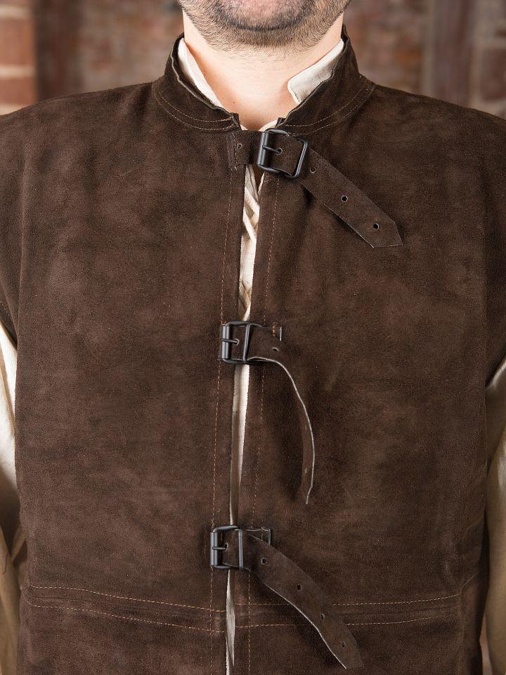 Veste en cuir chamoisé à boucles 2