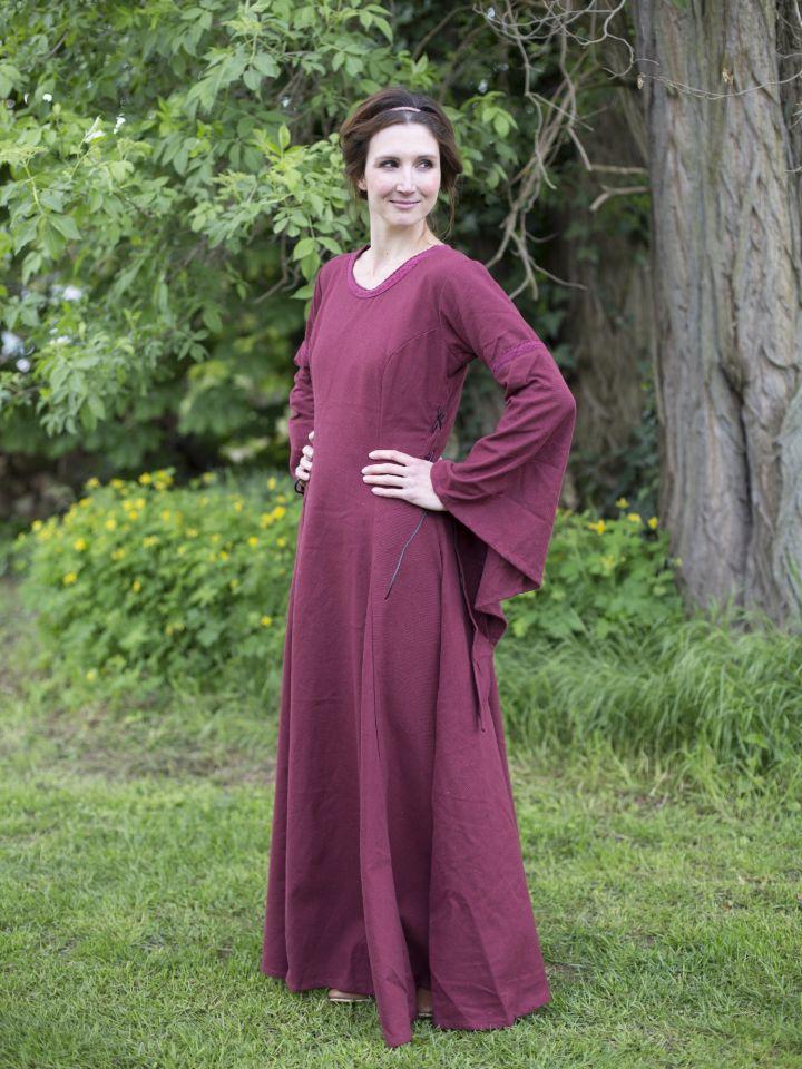 Robe médiévale manches trompette, en rouge/bordeaux 2