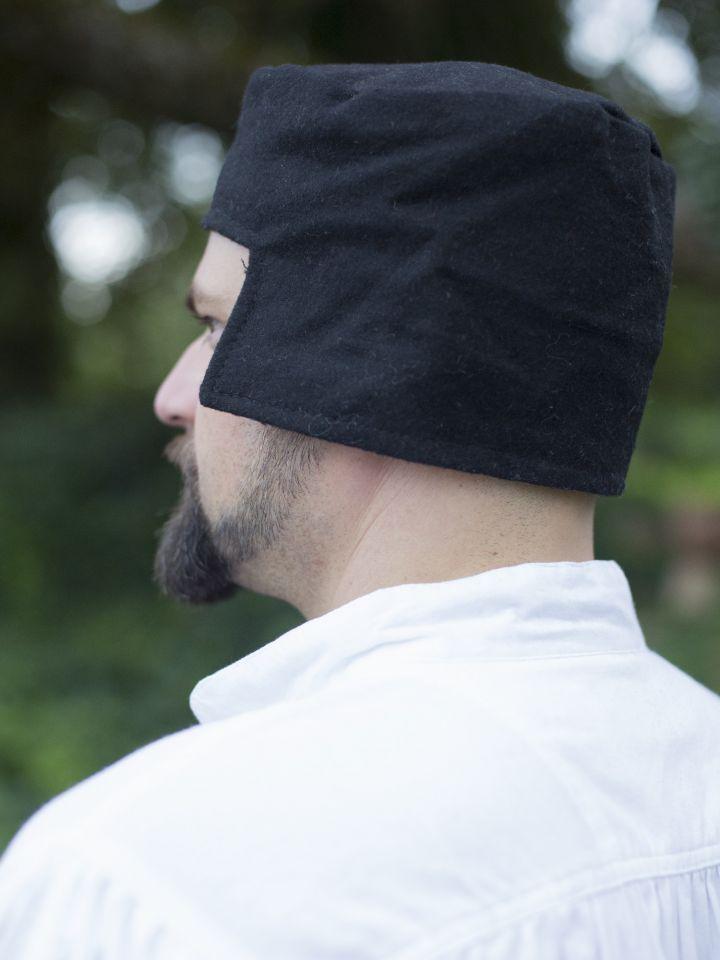 Bonnet médiéval en laine noire 2