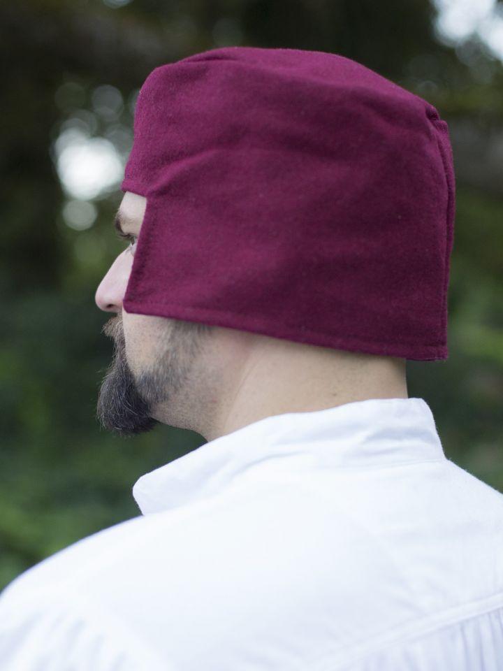 Bonnet médiéval en laine rouge 2