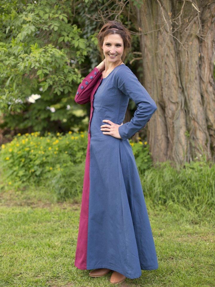 Robe médiévale bicolore à boutons bordeaux et bleu 2