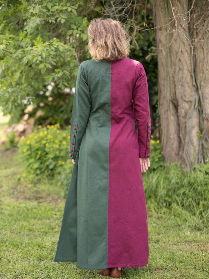 Robe médiévale bicolore à boutons bordeaux et vert 2