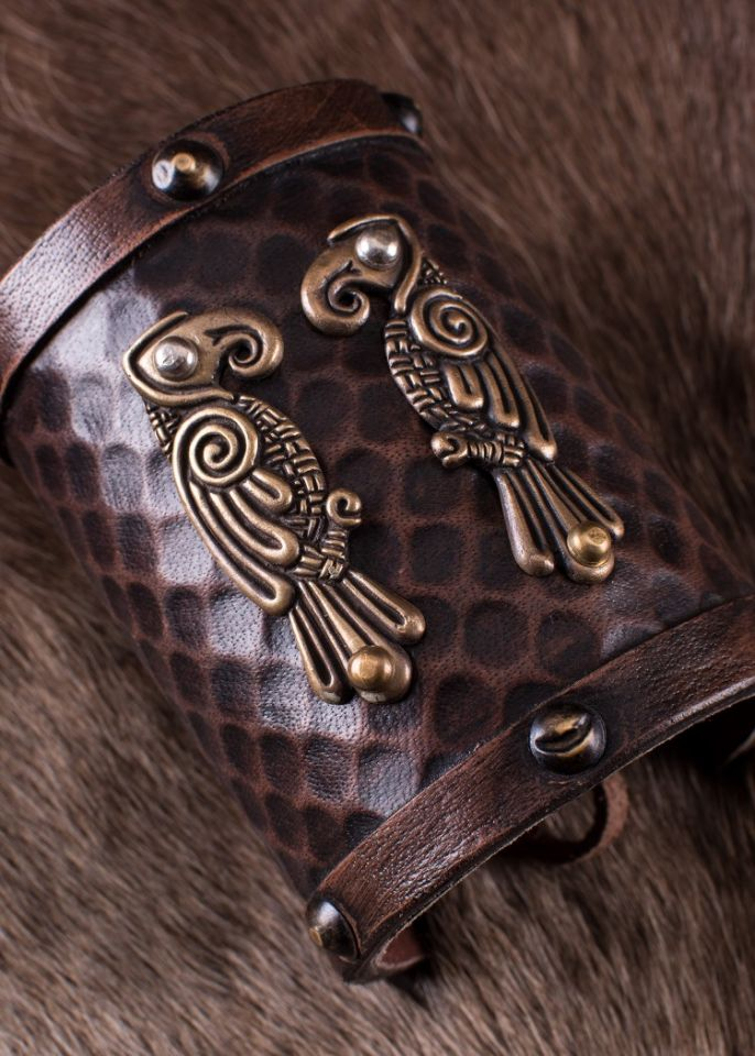 "Bracelet en cuir motif ""Hugin et Munin"" 2"
