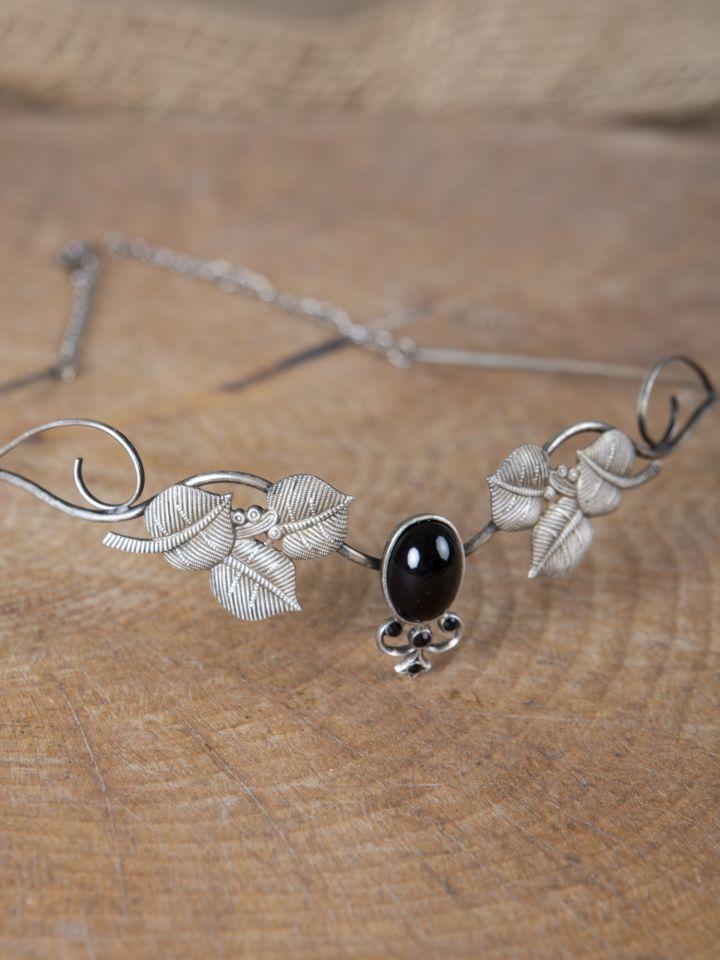 Couronne tiare avec perles noire 2