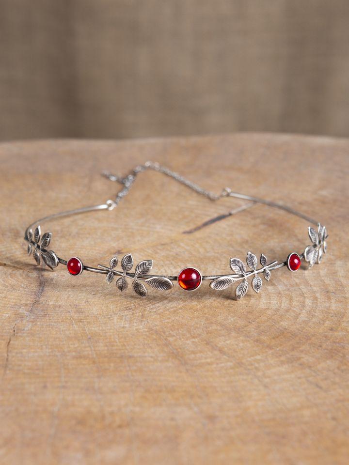 Diadème feuillage, pierres rouges 2