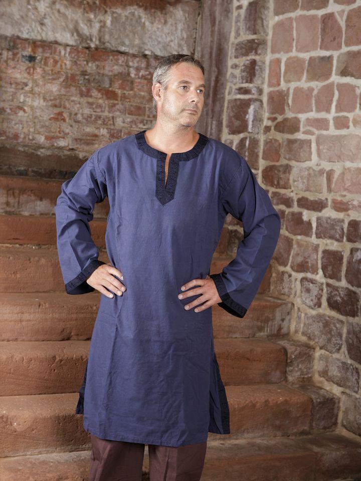 Tunique médiévale à galon en bleu 2